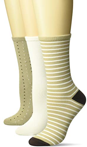 Hanes Women's ComfortSoft Crew Socks 3-Pack, khaki/ivory/pink, 9-11 (Shoe Size 5-9)