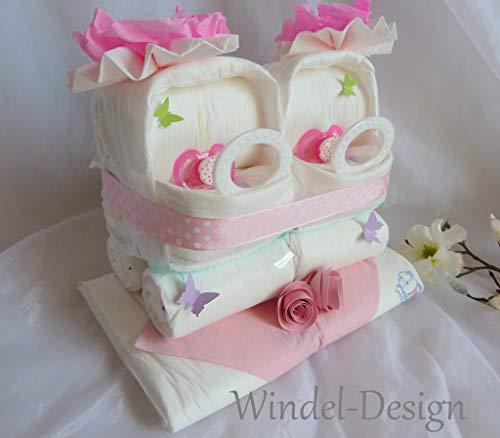 Windeltorte Windelwagen Zwillinge Geschenk, Babyparty, Geburt oder Taufe, auf Wunsch mit Grußkärtchen, zur Geburt