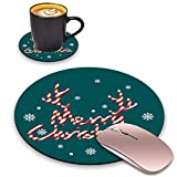 BWOOLL Round Mouse Pad and Coasters Set, Merry Christmas Print Design Mouse Pad, Non-Slip Rubber Base Mouse Pads for Laptop and Computer