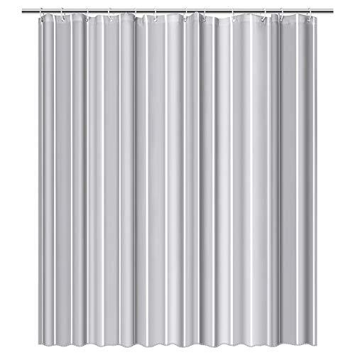 Duschvorhang Anti-Schimmel, Wasserdicht, Textil-Vorhang Waschbar für Badezimmer Badvorhang Duschvorhänge aus Polyester mit 12 Ringe Grau Streifen, 180x180cm