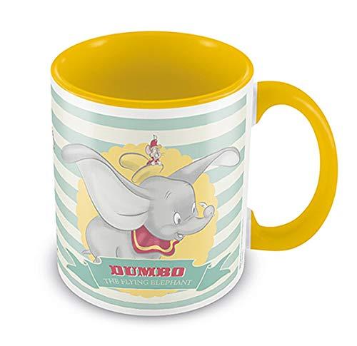 Disney Tasse Dumbo The Flying Elephant - weiß & gelb, Bedruckt, aus Keramik, Fassungsvermögen ca. 315 ml.