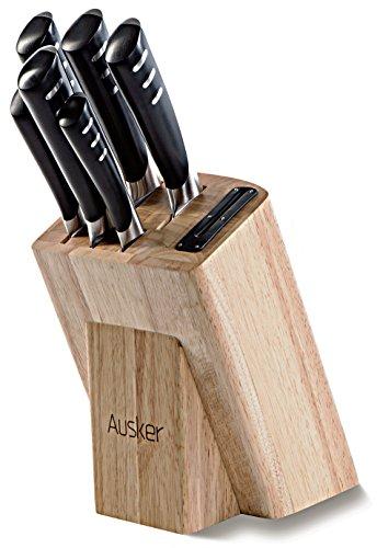 Ausker - Juego de 6 cuchillos en acero inoxidable con bloque en...