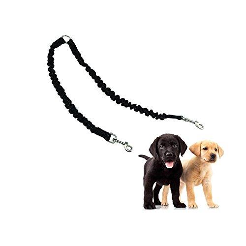 VEIREN Dual Sided Dog Walking Leash Coupler Tangle Free Bungee 360°Swivel Training Leash Elastic Comfortable Shock Absorbing Two Dog Leads Splitter(Black)