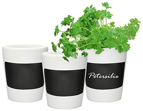 com-four® 3x Kräutertopf - Blumentopf-Set mit Kreide beschriftbar - Keramik Deko für die Küche (03 Stück - Kräutertopf)