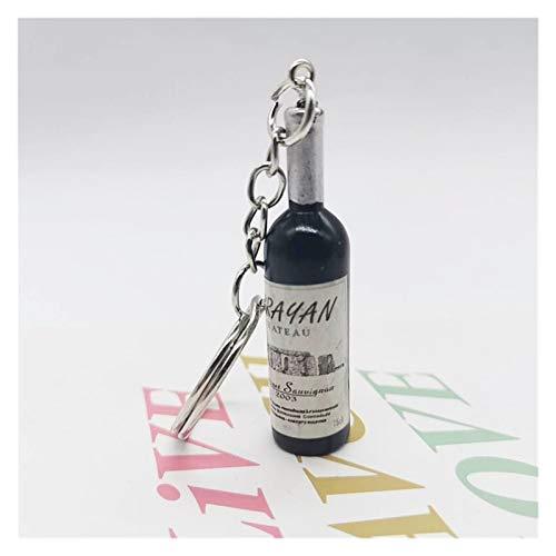 Ykjspd Schlüsselanhänger Nette Neuheit-Harz-Bier-Wein-Flaschen-Schlüsselanhänger Farbe Sortiert nach Frauen Männer Car Bag Schlüsselanhänger Geschenk (Color : Black)