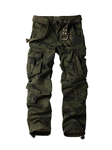 AKARMY Men's Casual Military Army Camo Combat Work Cargo Pants with 8 Pockets F Camo 32