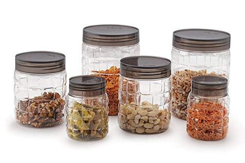 Cello Checkers Plastic PET Canister Set, 18 Pieces, Clear 3