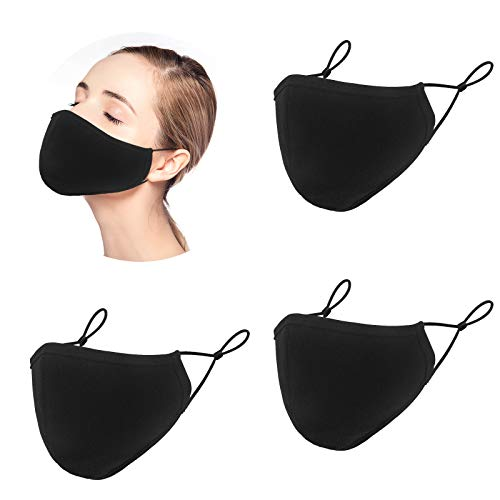 3Pcs Washable Face Mask for women with Adjustable Ear Loops - 3 Layers Cotton Inner Layer - Cloth Reusable Face Protection with Filter Pocket