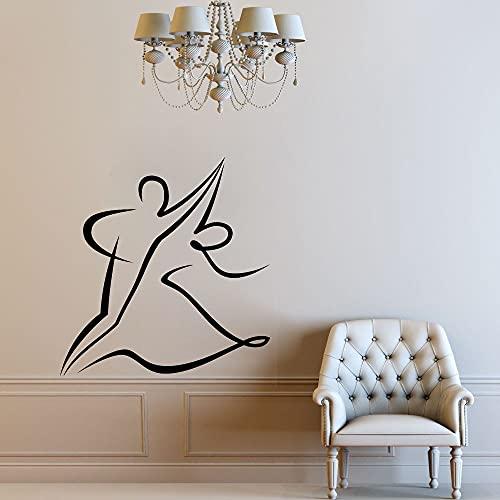 WERWN Pegatinas de Pared de Baile Dormitorio Arte romántico Tatuajes de Pared vals decoración del hogar Pareja de Baile Papel Tapiz Pegatinas de Sala de Estar