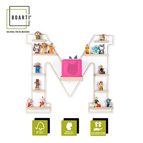 BOARTI Kinder Regal Buchstabe M in Weiß - geeignet für die Toniebox und ca. 48 Tonies - zum Spielen und Sammeln