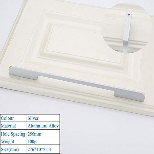 Zwart Aluminium Veiligheid Deurgrepen Amerikaanse Stijl Verlengen Kastdeurgreep Moderne Decoratieve Lade Handgrepen, Zilver 6801-256mm