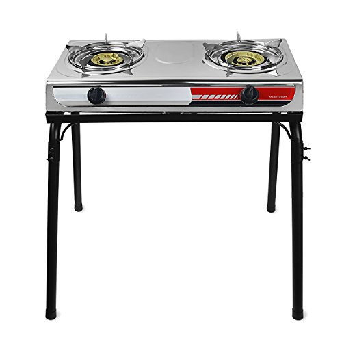 XtremepowerUS Portable Propane Gas Range 2-Burner Stove Auto Ignition Outdoor Grill Camping Cooktop Stoves Tailgate LPG w/Stand