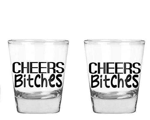 Cheers Bitches - Funny Birthday or Bachelor/Bachelorette - 1.75 OZ Shot Glass (2)