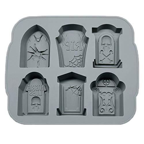 MXLTiandao Silikon-EIS-Trays Halloween RIP Grabstein-Form-EIS-Würfel-Behälter Seife Schokolade Backform Küchen-Werkzeug