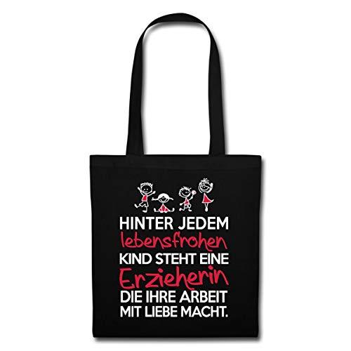 Spreadshirt Erzieherin Mit Liebe Lebensfrohe Kinder Stoffbeutel, Schwarz