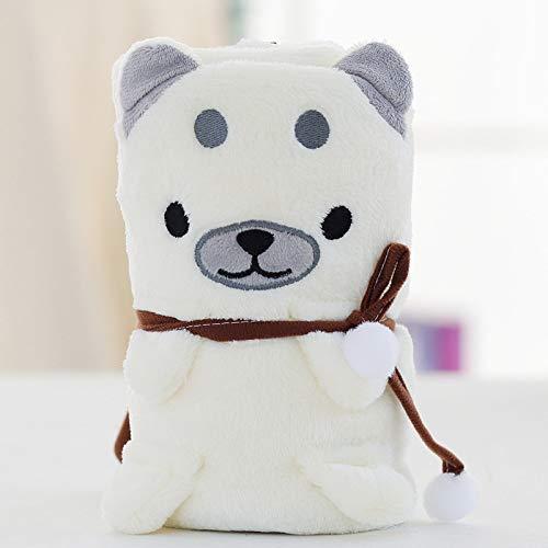 Miranda Manta para perro Shiba Inu de franela, diseño tricolor, manta para niños con aire acondicionado, manta pequeña de 100 x 150 cm, color blanco