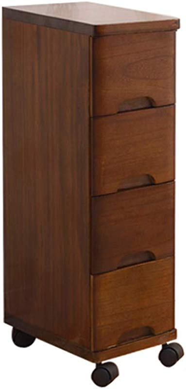 JU FU Bedside Table Bedside Table Wooden Angled Drawer Storage Cabinet Narrow Slit Rack Small Bedside Table Suitable For Living Room Bedroom Study Kitchen And 5 Sizes
