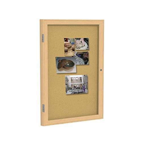 """Ghent 36""""x36"""" 1-Door indoor Enclosed Bulletin Board , Shatter Resistant, with Lock, Wood Frame Oak Finish - Natural Cork (PW13636K) Made in the USA"""