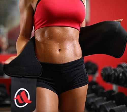 Fitru Waist Trimmer Sauna Ab Belt for Women & Men - Waist Trainer Stomach Wrap