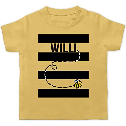 Karneval und Fasching Baby - Bienen Kostüm Willi - 1/3 Monate - Hellgelb - Fun - BZ02 - Baby T-Shirt Kurzarm