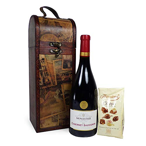 75cl Monastier Red Wine & Chocolate Birthday Surprise Gift Box Hamper in a Vintage Style Chest - Ideas for Father's Day, Birthday, Anniversary and Congratulations Present