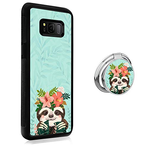 Samsung Galaxy S8 Plus Case Rugged Finger Ring Cute Sloth Ring Buckle Phone Case Anti Slip Finger Holder Ring for Samsung Galaxy S8 Plus