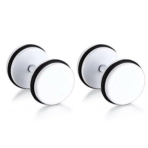 YAZILIND hombres oreja perno titanio acero ronda mancuerna forma de la moda de la rueda de coche piercing pendientes joyas regalo (blanco)