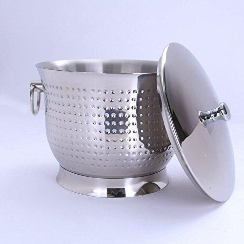 FTC Ice Bucket Secchiello Ghiaccio Oversize in Acciaio Inox con Coperchio e Maniglia