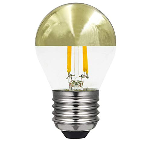 LAES 990515. Bombilla led esférica cúpula oro 220-240V 4W 2700L E27. 350 Lumen. Equivalente a incandescente de 33W. 15.000 Horas. Dimensiones: 77 X 45mm.