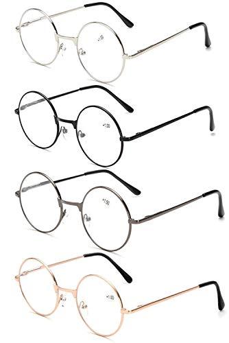 VEVESMUNDO Runde Metall Lesebrille Herren Damen Nickelbrille Lennon Brille Lesehilfe Stärke (4 Farben(Schwarz+Grau+Golden+Silber), 1.25)