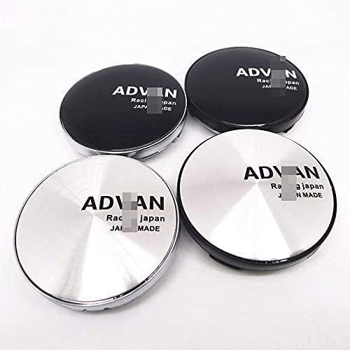 WFYTG 4pcs 59mm Compatible con Advan Racing Coche Centro de Ruedas Cubierta del Centro Cubierta de la Tapa de la Tapa de 56 mm Emblema Pegatina de Insignia Auto Styling (Color : D)