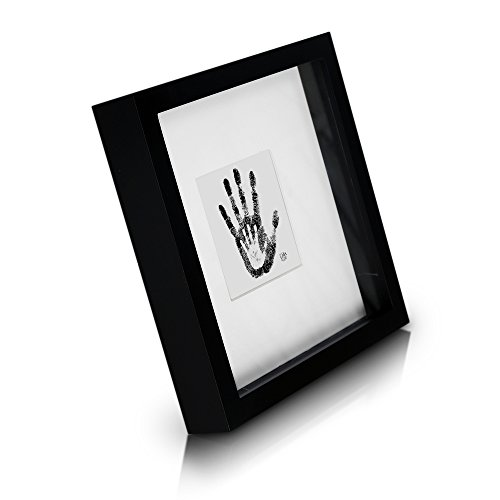 Classic by Casa Chic - Solid Wood Box Frame - Black - 9x9 inch (23x23cm) Photo Frame - 3D Shadow Effect - Mount for 4x4 inch (10x10cm) Picture - Glass Front