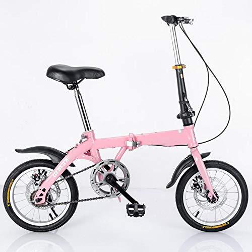 LIZONGFQ Bicicleta de 20 Pulgadas Mini Plegable ultrafiro portátil Portátil Freno de Mariposa para Adultos Bicicleta para Adultos Niño Masculino y Femenino Estudiante Pequeña Rueda Bicicleta,Rosado