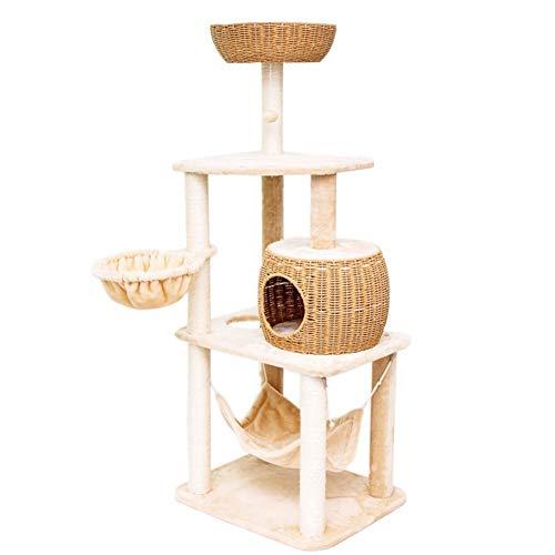 XinQing-Parque infantil para gatos 61.0 Torre del árbol del gato del gato de la pulgada con sisal arañar puestos, Cuerda de papel del gato del gato Condo Muebles Centro de Actividades de la perca Hama