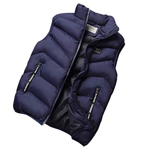 "Colete masculino WSLCN Gilet com bolsos de zíper plus size acolchoado, Azul, Bust 48.8"" (Asian 4XL)"