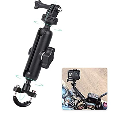 RUIGPRO 360°Motorcycle Bike Camera Holder Handlebar Mount Bracket 1/4 Metal Stand for GoPro Hero9/8/7/6/5/4/3+ Action Cameras Accessory(Cool Ballhead Arm Super Clamp Mount Multi) by RUIGPRO