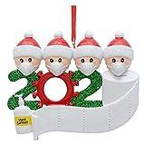 PINPOXE Addobbi Natalizi, Ciondoli per Albero di Natale, 2020 Sopravvissuto Famiglia Fai da Te Nome Saluto Decorazione Ciondolo Pupazzo di Neve con Maschera per Decorazione Albero di Natale