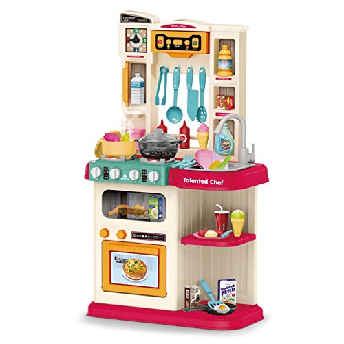huangjiaxinss Simulates Kitchen Toy Playset,Kids Educational Kitchen Playset with Realistic Lights & Sounds,Simulation of Spray, Play Sink with Running Water - Toys for Toddlers Children Girls Boys