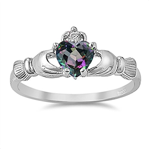 Celtic Claddagh Heart Rainbow Simulated Topaz Ring .925 Sterling Silver Band Size 10