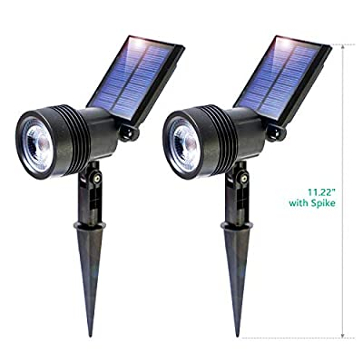 BEEZOK LED Solar Landscape Spotlights Outdoor - 2 Pack 2020 Upgraded Light Ray, IP67 Waterproof Auto On/Off Solar Pathway Lighting for Patio Deck Yard Garden Driveway Pool (Free Angles, Warm White)
