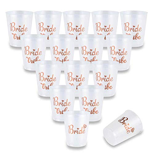 AniSqui 16 Count Bachelorette Party Bride Tribe Cups, 16oz 450ml Rose Gold Bridal Shower Coppe w/2 Bride Mugs, Addio al Nubilato Gadget, (Hen Feste Notte, Doccia Nuziale) by