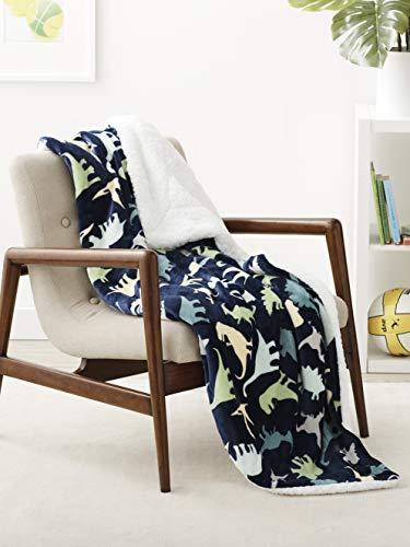 Amazon Basics Kids Ultra-Soft Micromink Sherpa Blanket - Twin, Dinosaur Squad