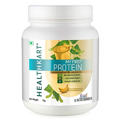 HealthKart My First Protein, Beginners Protein With Whey & Casein (By HealthKart), Banana-1 Kg