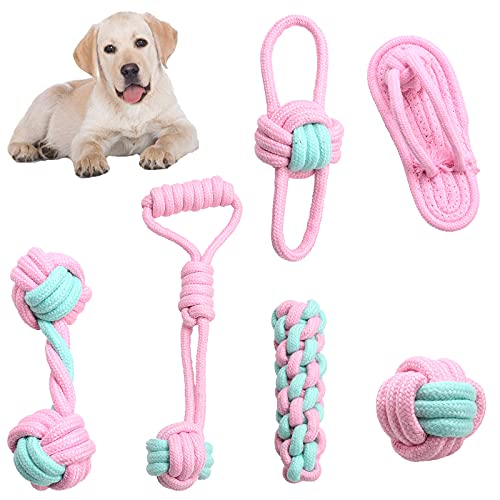Dog Rope Toy for Puppy Teething/Small/Medium Dogs, Set of 6 with Rope Knot Dog Chew Shoes Toy,Tug of War Toy, Cute Pink, for Pet Training Play Safety Gift