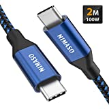 NIMASO USB C a USB C Cable 2M,Cable Tipo C de Carga Rápida 100W 20V/5A PD con E-Mark Chip y Cable de Datos para MacBook,MacBook Pro,iPad Pro 2020/2018,MacBook Air 2020,ChromeBook Pixel,Galaxy S20 S10