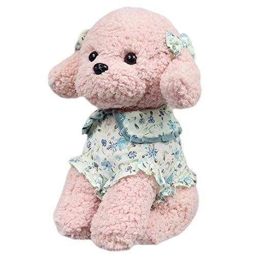 かわいいぬいぐるみシミュレーションテディ犬の子犬服を着たペットのおもちゃぬいぐるみ枕家の装飾クッション ピンク (Coco)