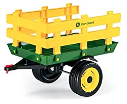 The two-wheeled trailer gives plenty of load space and many more adventures. Type: trailer. Recommended age: 2+ years. Can be attached to both electric and pedal John Deere tractors.