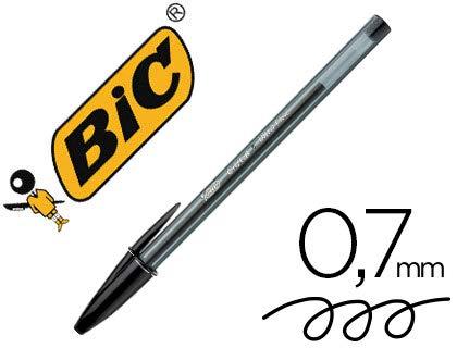 Boligrafo bic cristal ultrafine punta forma aguja 0,7 mm negro. (20 Unidades)