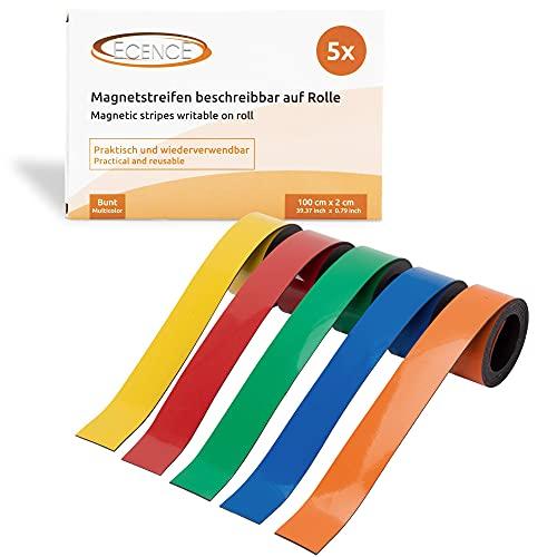 ECENCE 5x Magnetband Beschreibbar Magnetstreifen wiederverwendbar, Kennzeichnungsband für Haushalt, Büro, Küche, Werkstatt 100x2cm