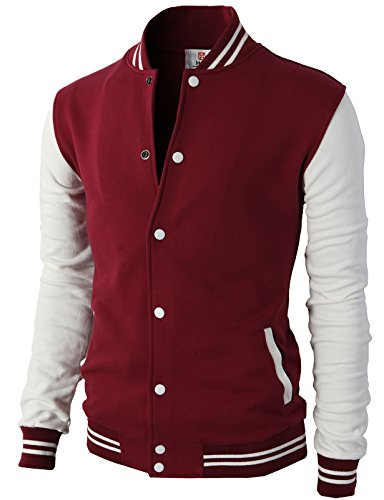 H2H Mens Slim Fit Varsity Baseball Bomber Cotton Lightweight Premium Jacket Cmoja083-wine Medium